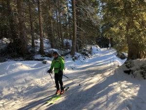 Winter Skifarer fährt von der Peeralm